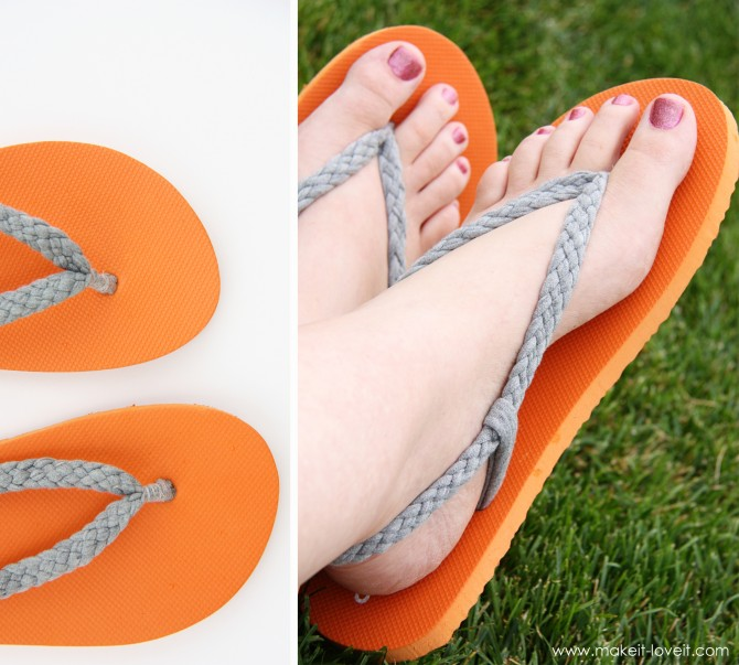 turn an old tshirt into fun flip-flops