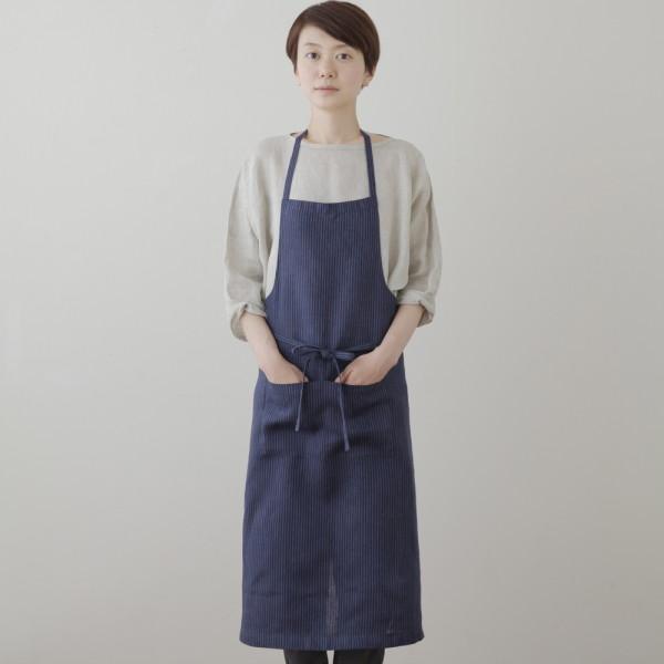 full apron navy blue