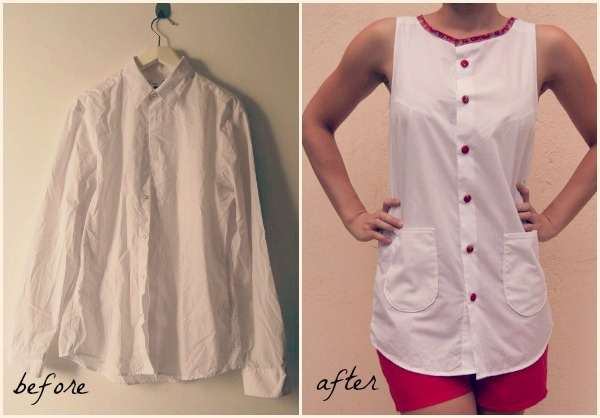 man shirt refashion before and after