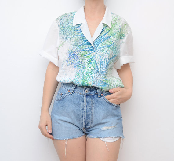 vintage white shirt with tropical leaves