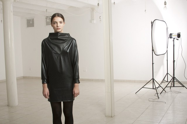 photography woman wearing leather in a studio