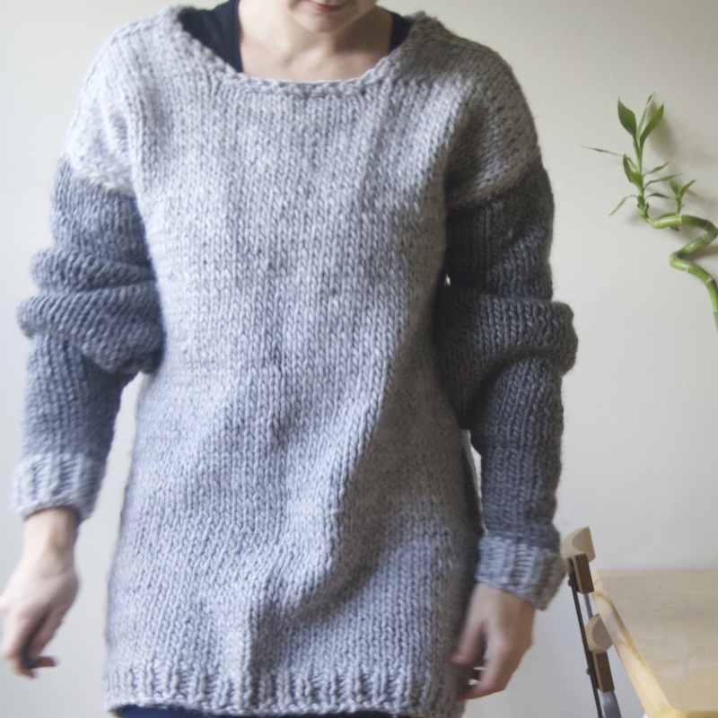 handmade wool sweater extra long sleeves