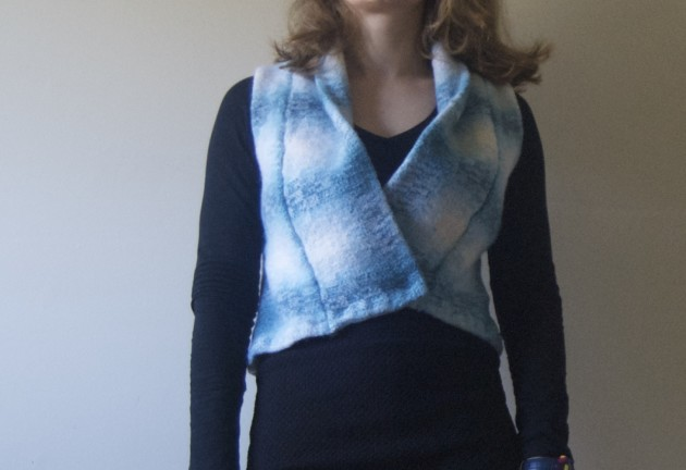 upcycled oslo cardigan to tiny vest