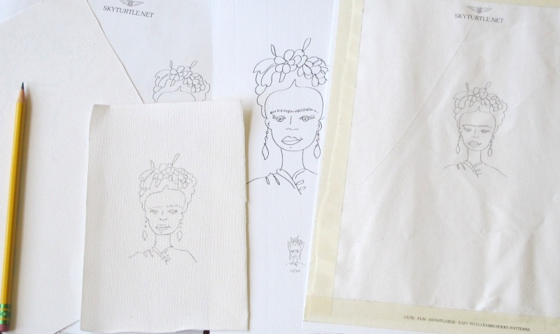 tracing the embroidery pattern