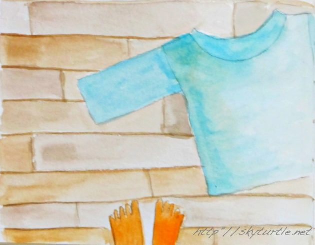 blue shirt on a wooden floor watercolor by sky turtle