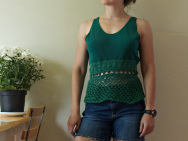 green crochet top