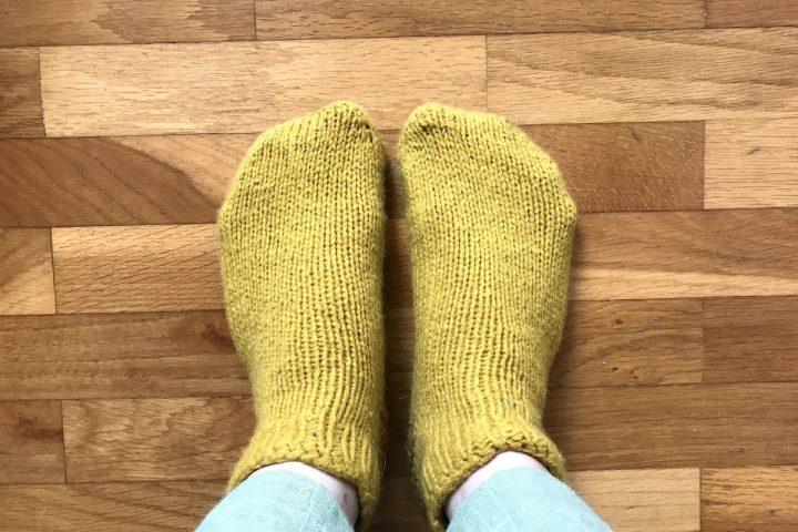 handknit yellow socks
