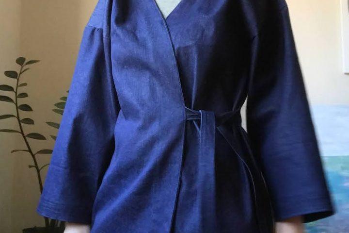 kimono inspired denim top