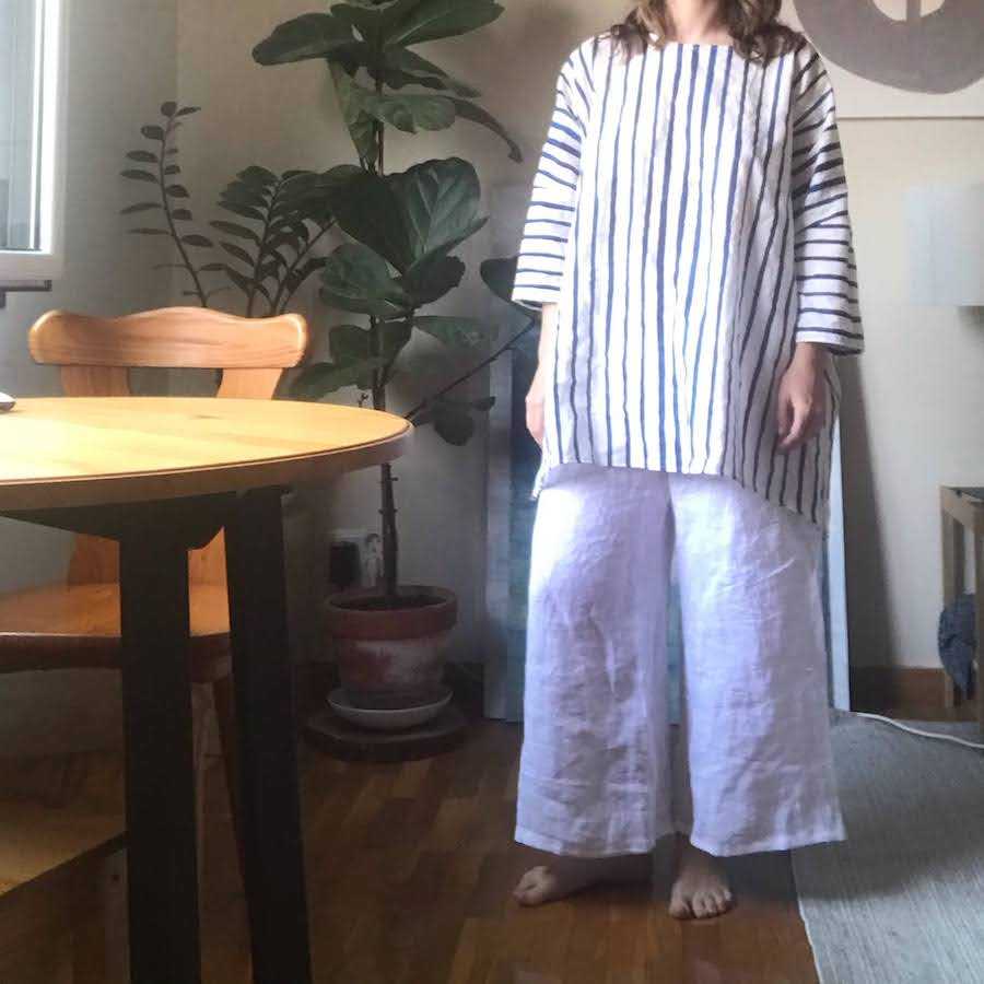 striped tunic with linen pants