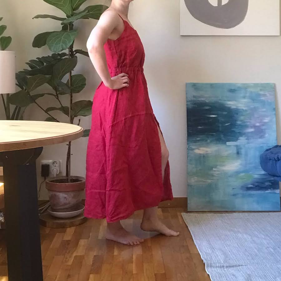 red linen dress side view