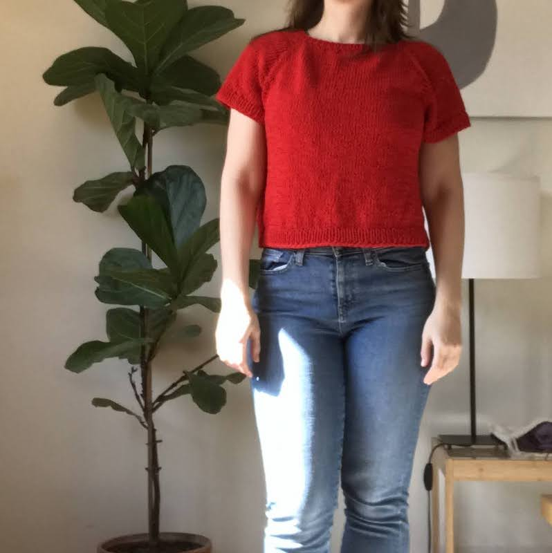 knitted red t-shirt